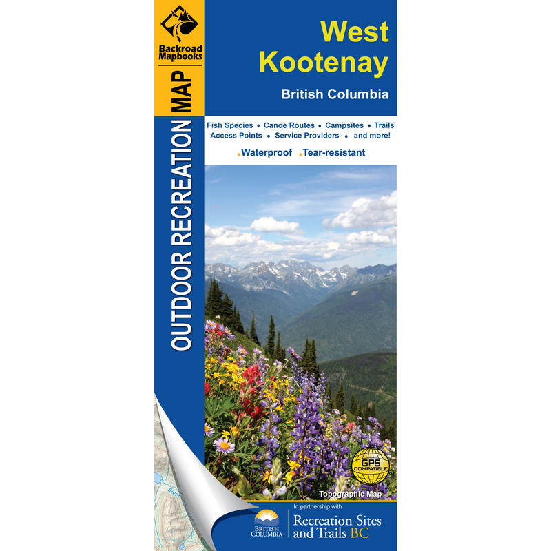 West Kootenay BC Waterproof Map