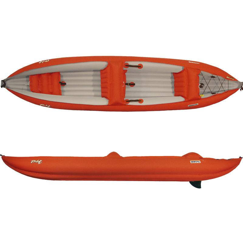 Kayak gonflable Double Twist avec pompe Rouge/Gris