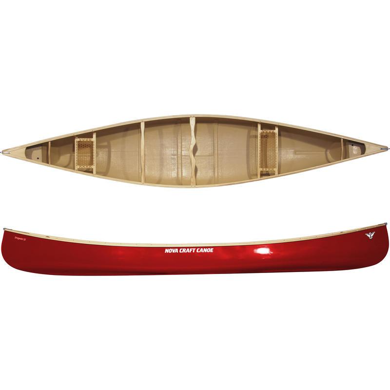 Prospector 16 Fibreglass/Ash Canoe Red