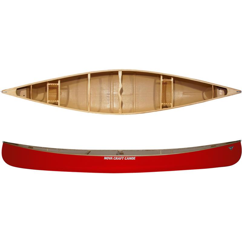 Canot Prospector de 17 pi en fibre de verre/frêne Rouge