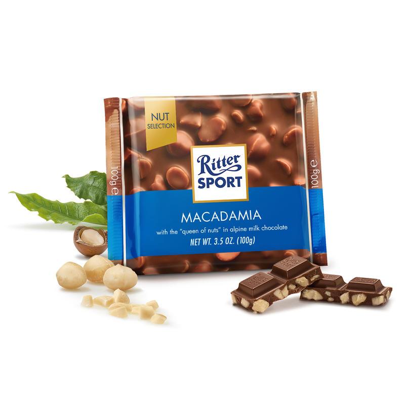 Tablette de chocolat au lait aux noix de macadamia