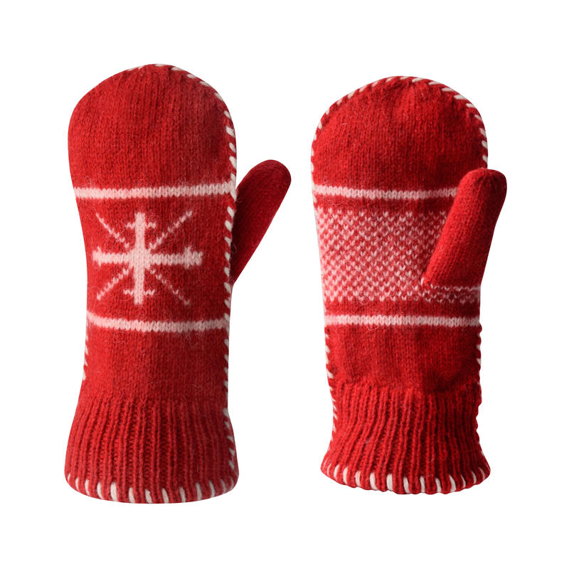 Snowflake Mitts Red/White