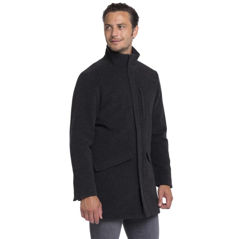 Manteau Sheffield en laine Charbon de bois chiné