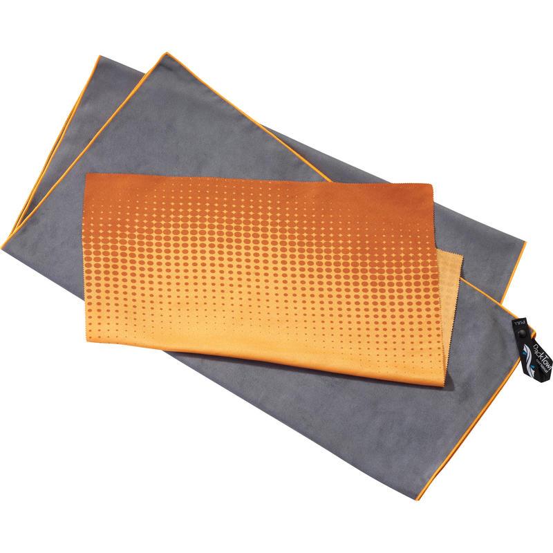 Ensemble cadeau serviette/débarbouillette Gris/Orange