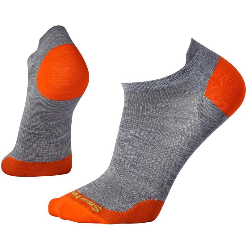Chaussettes PhD Run ultra légères Micro Gris pâle/Orange clair