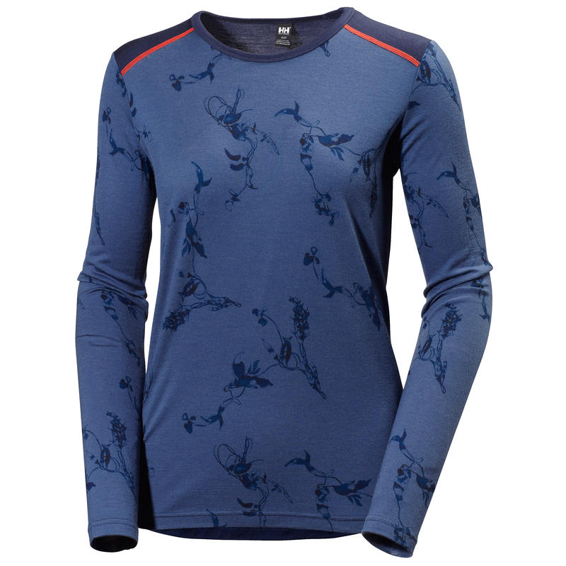 Wool Graphic Long Sleeved Crew Evening Blue Symbios Print