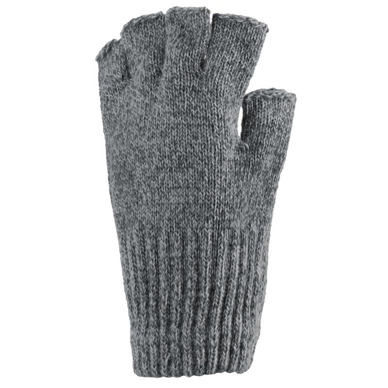 Ragg Wool Fingerless Gloves Charcoal