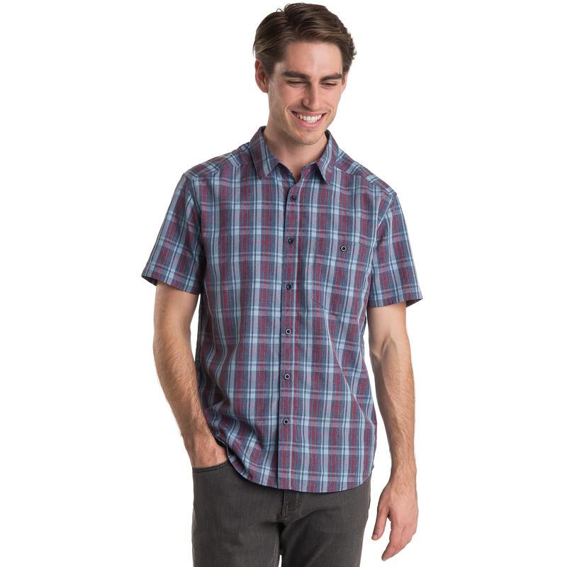 Overlook Short Sleeved Shirt Midnight Blue Heather Plaid