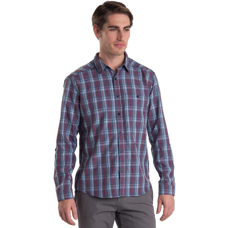 Overlook Long Sleeved Shirt Midnight Blue Heather Plaid