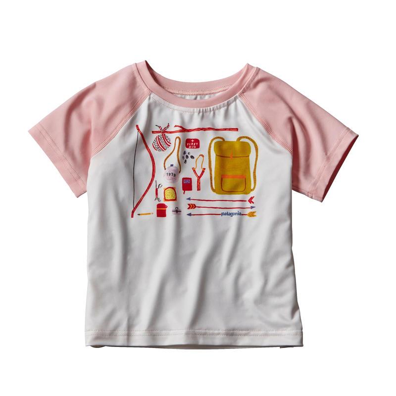 T-shirt Baby Capilene Silkweight Blanc/Rose plume