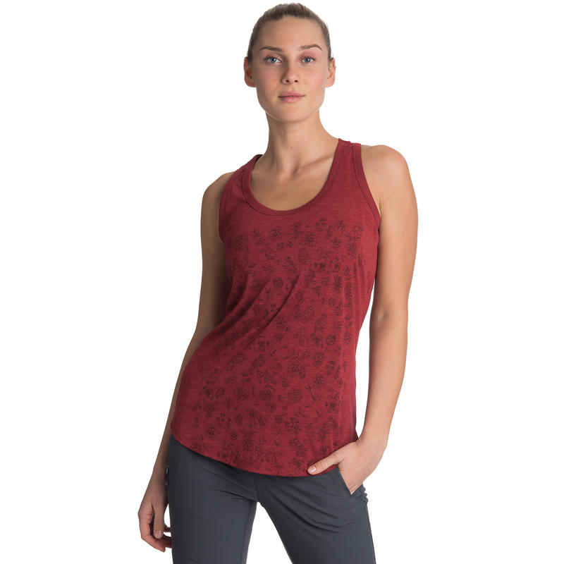 Sparrowgrass Sleeveless Top Red Bean Vintage Floral Graphic