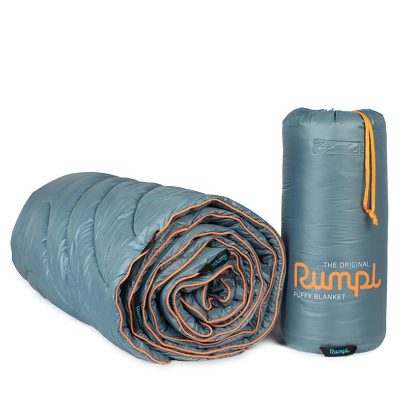 Couverture Puffy originale pour une personne Bleu ardoise/Orange sécuritaire