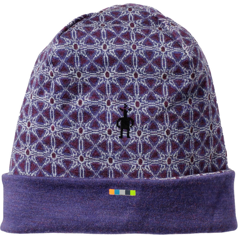 Merino 250 Pattern Cuffed Beanie Mountain Purple