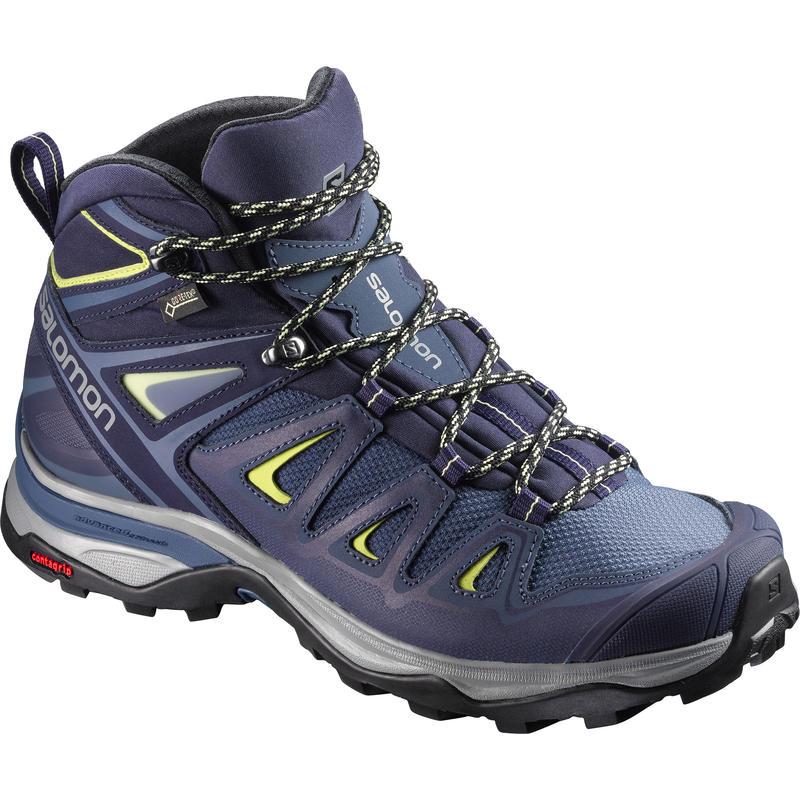 Chaussures de randonnée légère X Ultra Mid 3 GTX Bleu couronne/Lime ensoleillée