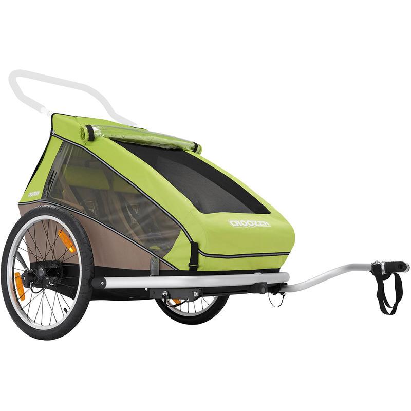 Remorque de vélo double pour enfants Pré vert/Gris sable