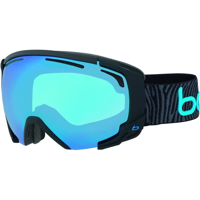 Lunettes de ski photochromiques Supreme OTG Noir mat bleu néon/Bleu vermillon NXT Modulator