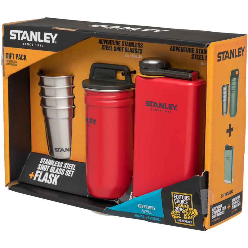 Stainless Steel Shots Flask Set Flannel Red