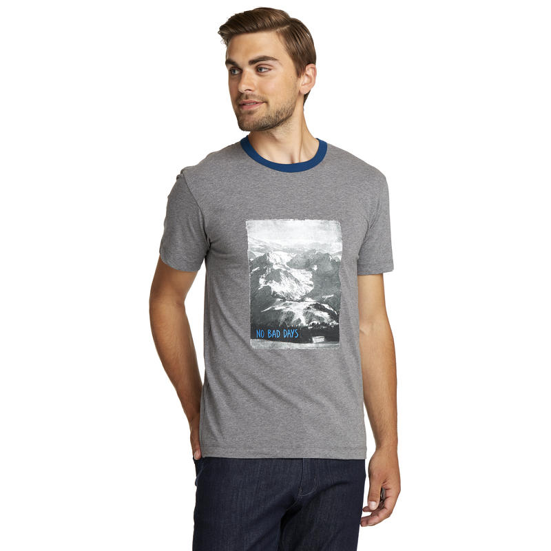 Graphic Ringer T-Shirt Dark Grey Heather-Deep Lagoon No Bad Days Graphic