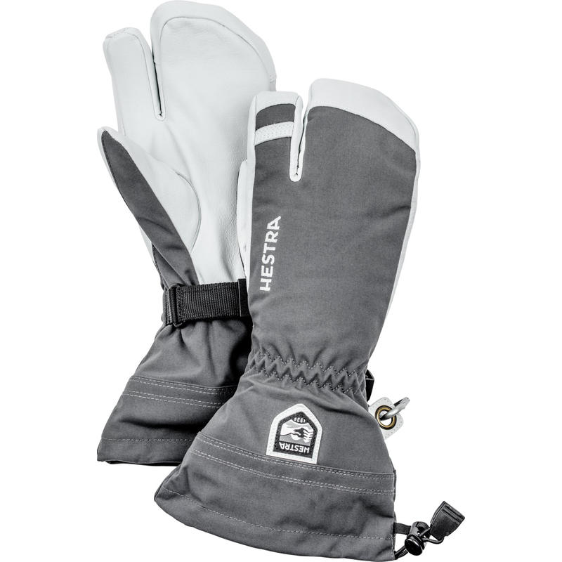 Army Leather Heli Ski 3-Finger Glove Grey/Off White