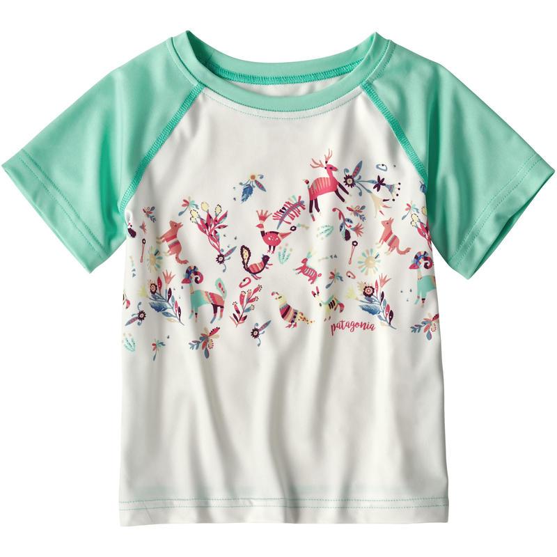 T-shirt Baby Capilene Silkweight Blanc bouleau/Bleu courbe