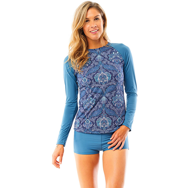 Sunset Long Sleeved Rashguard Indigo Paisley w/Indigo