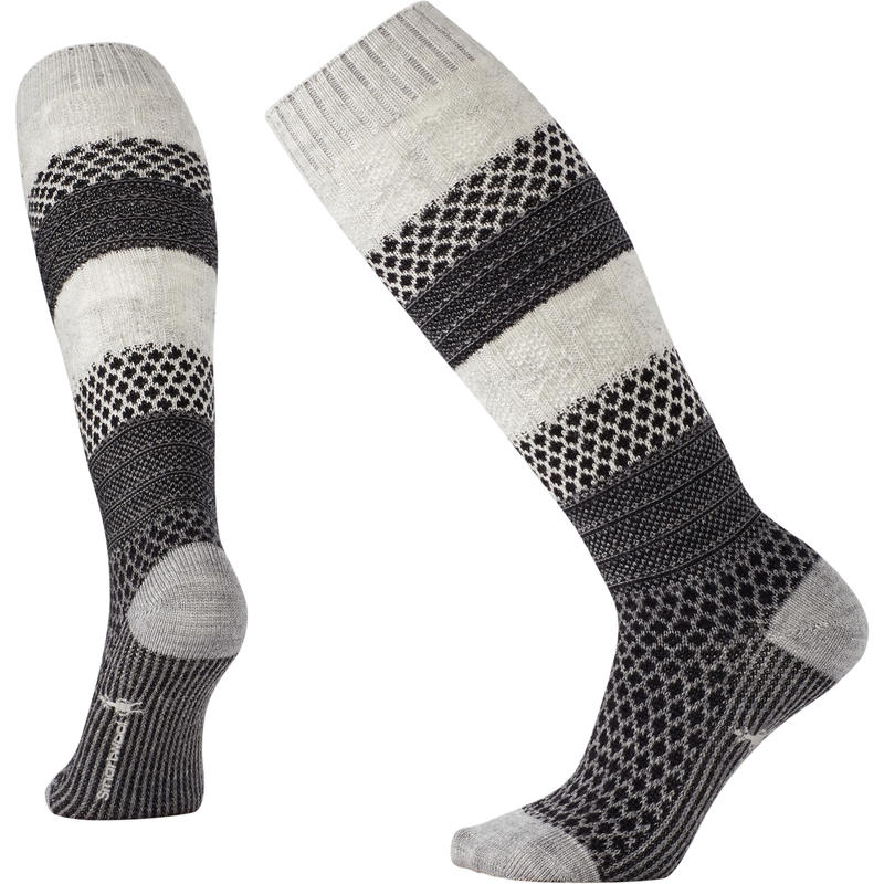 Chaussettes hautes Popcorn Cable Tweed blanc hiver
