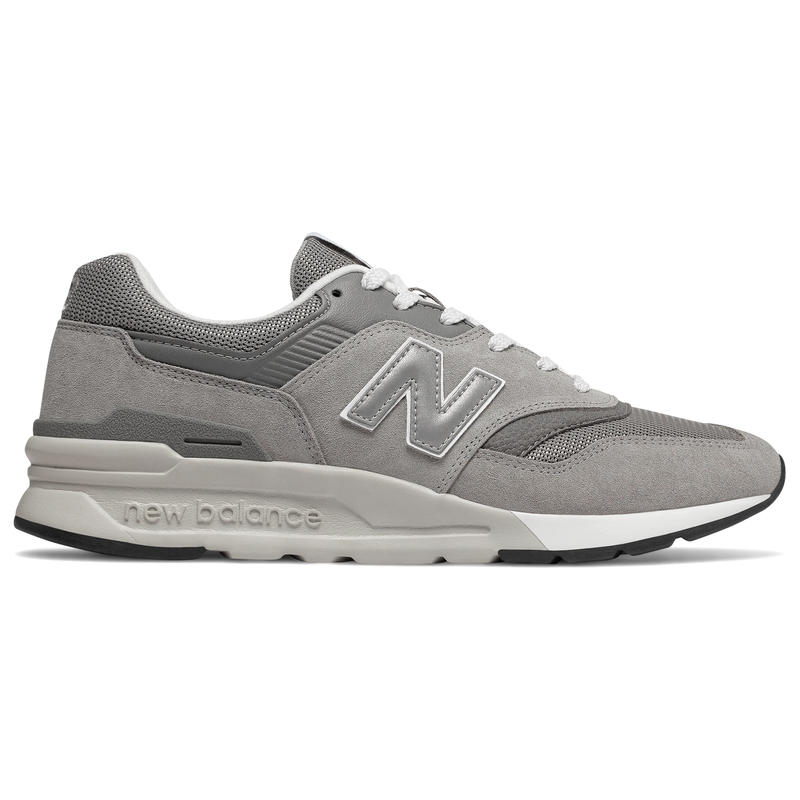 new balance 997 grey on feet