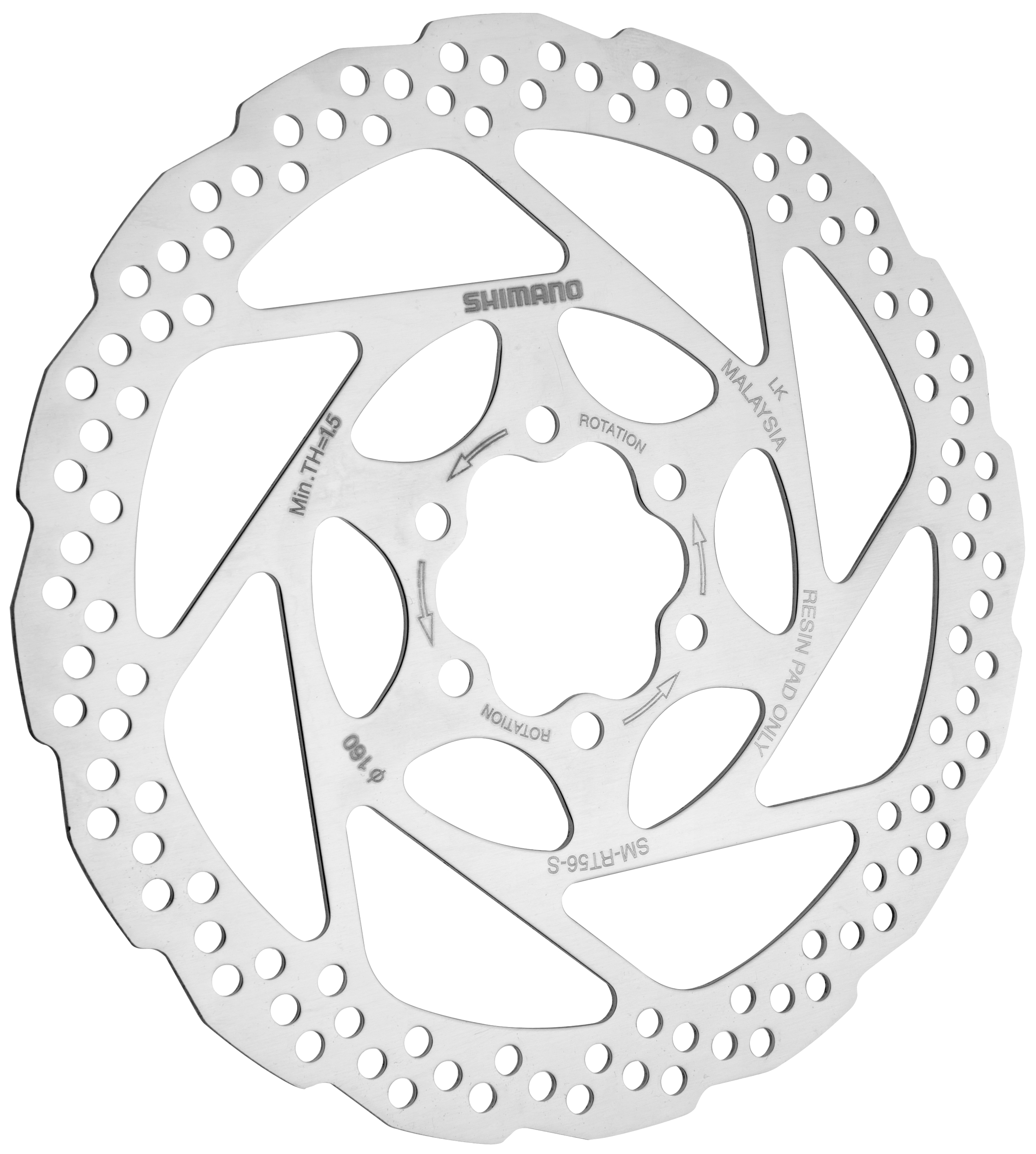"SHIMANO RT-56 160MM--6/"" DISC BRAKE BICYCLE ROTOR WITH BOLTS"