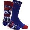 Chaussettes de ski en laine mérinos (2 paires) Royal/Rouge