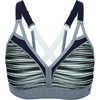 Curvy Strappy Bra Ceramic Gray Blurred Stripe Print