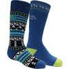 Chaussettes de ski en laine mérinos (2 paires) Noir/Bleu