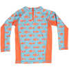 Slater SPF 50 Long Sleeve Sun Guard Washed Blue Fish