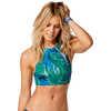 Haut de bikini réversible Sanitas Palmes azulène/Points Shibori