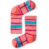 Merino Hike Stripe Light Crew Socks Bright Coral