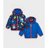 Bundle Up Reversible Jacket Bright Blue/Block Print
