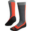 Snowpark Merino Ski Socks Light Grey Deep Navy Stripe/Orange Tango