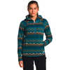 Printed Crescent Hooded Pullover Mallard Blue Landscape Knit Print