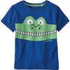 T-shirt en coton biologique Baby Graphic Alligator: bleu supérieur