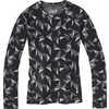 Maillot à col rond à motif en laine mérinos 250 Roue noire